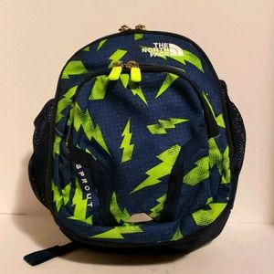 The North Face navy blue green bolt backpack